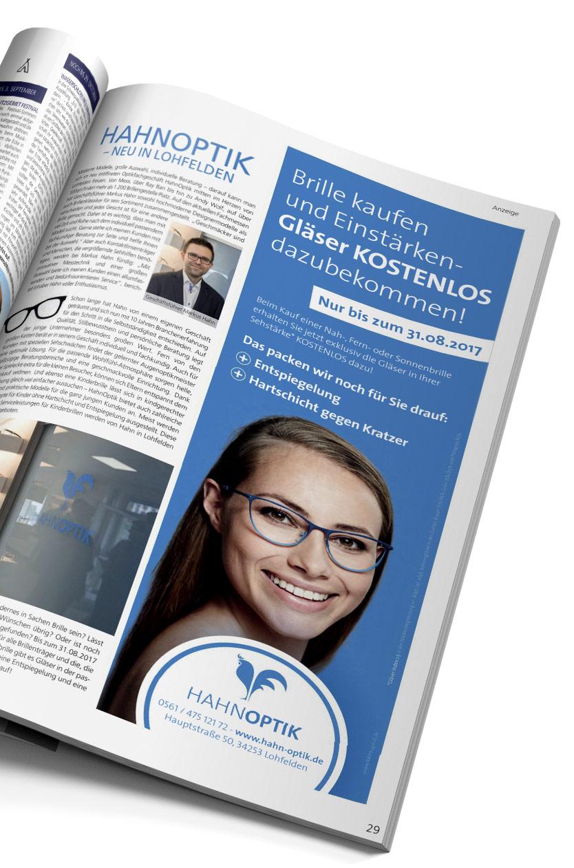 Hahnoptik Anzeige im Magazin