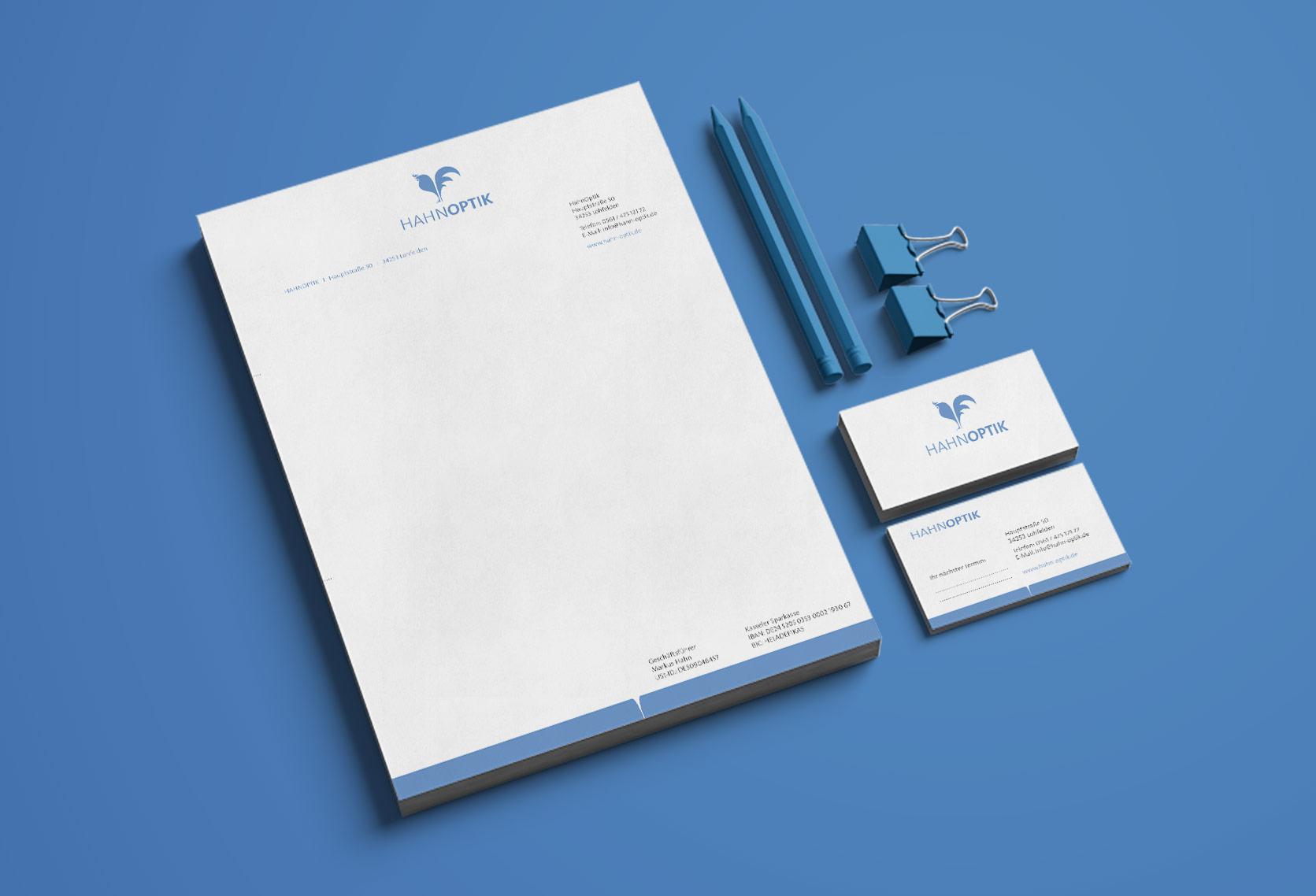 Briefpapier und Visitenkarten Hahnoptik