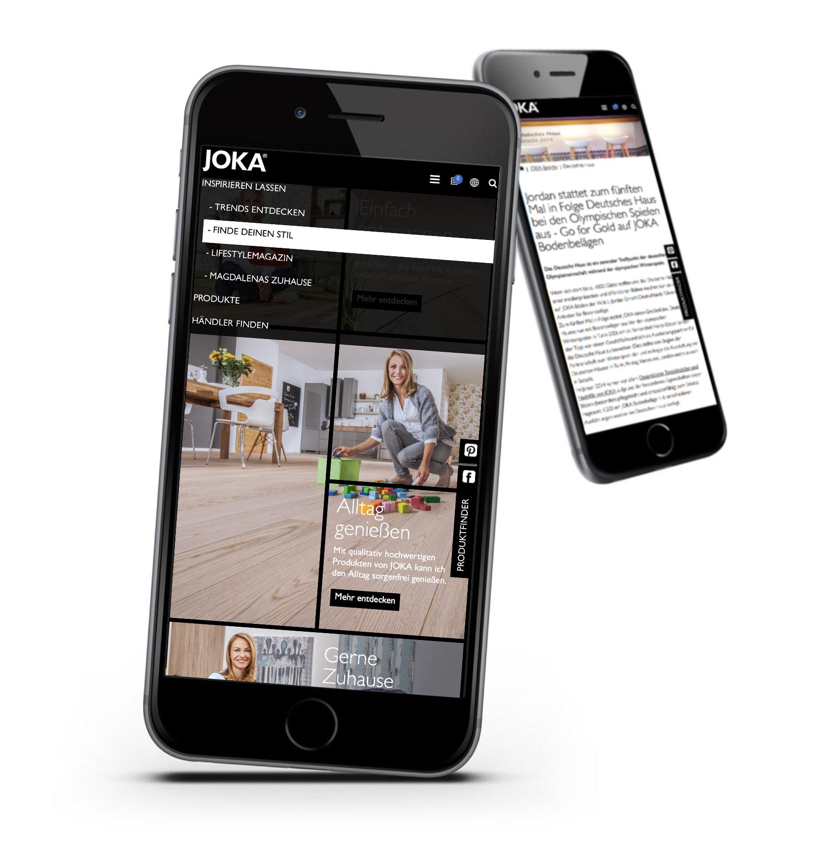 JOKA Website auf dem Smartphone in mobiler Ansicht