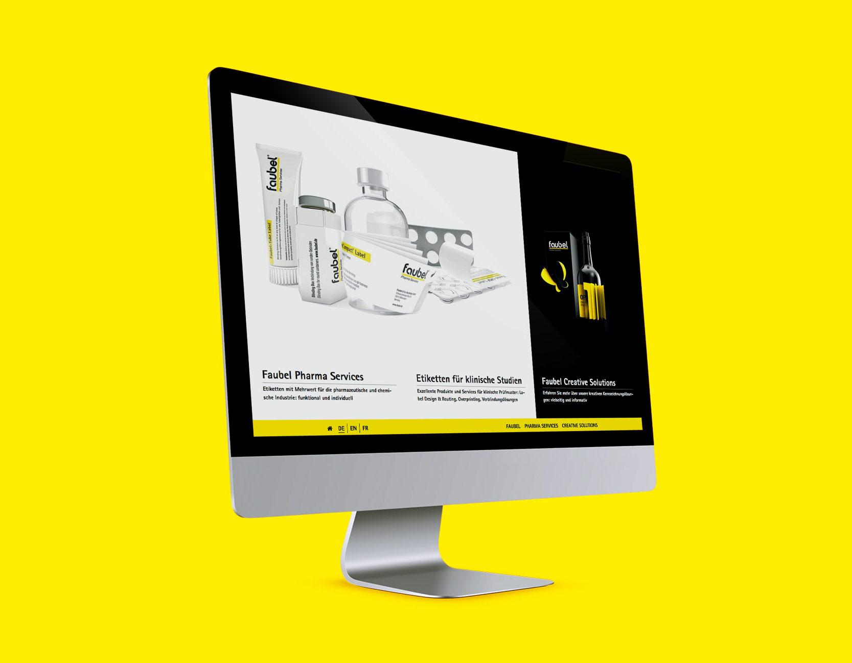 Screendesign von der faubel Website