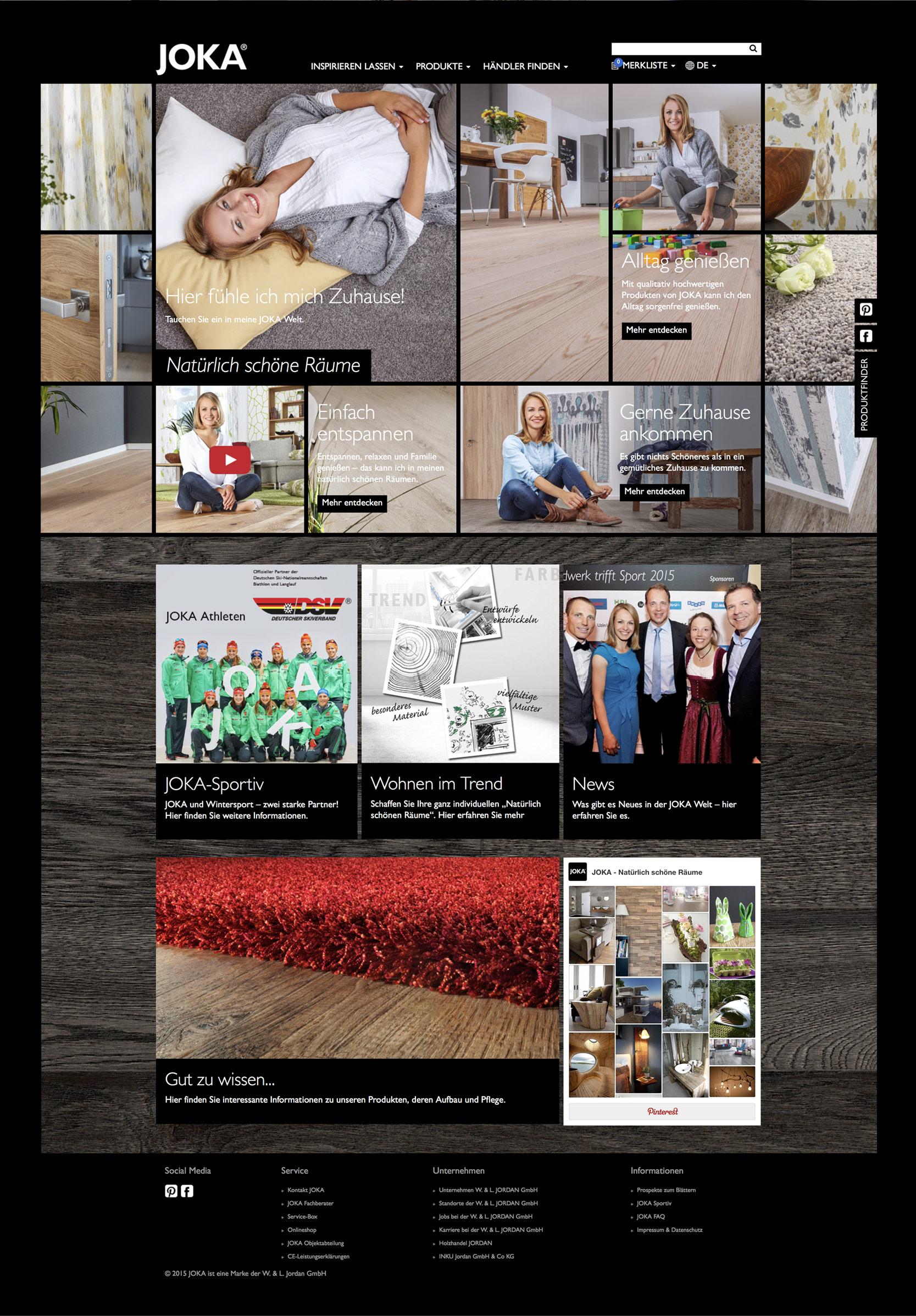 Startseite der JOKA Website