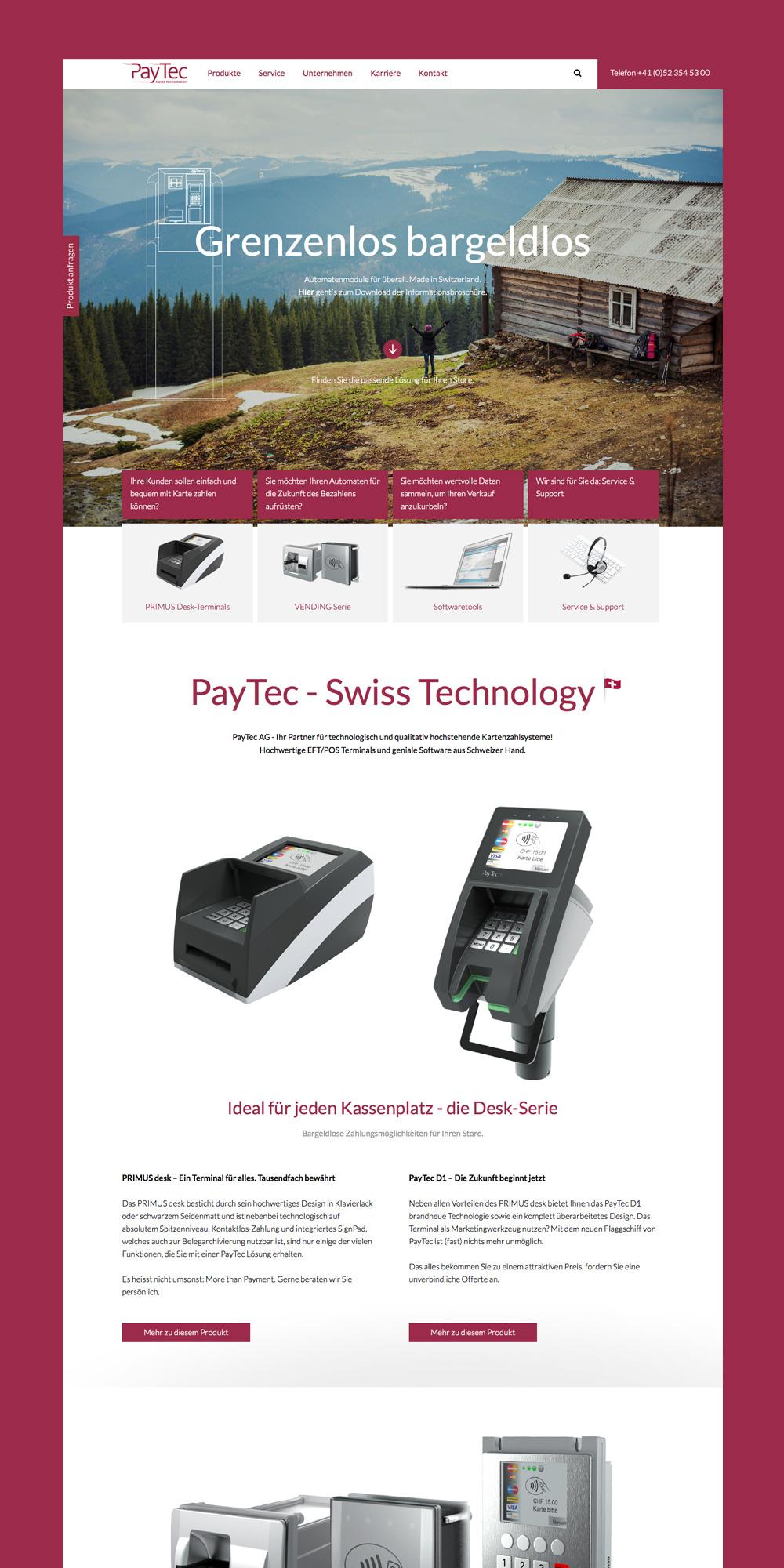 Screenshot von der Paytec Website