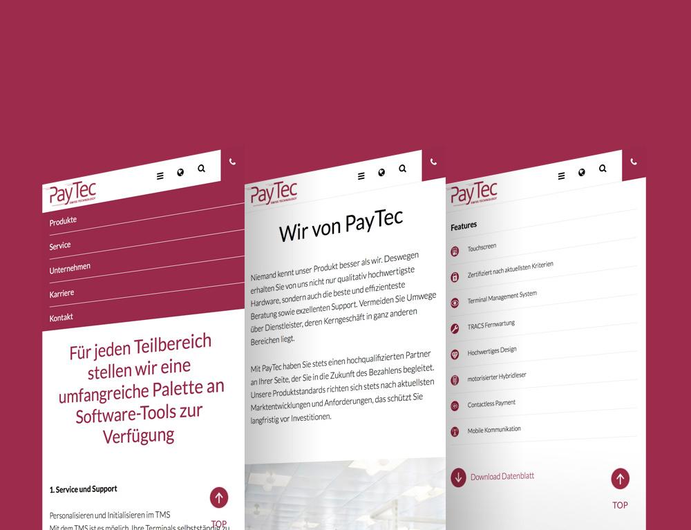 Responsive Version der Paytec Website