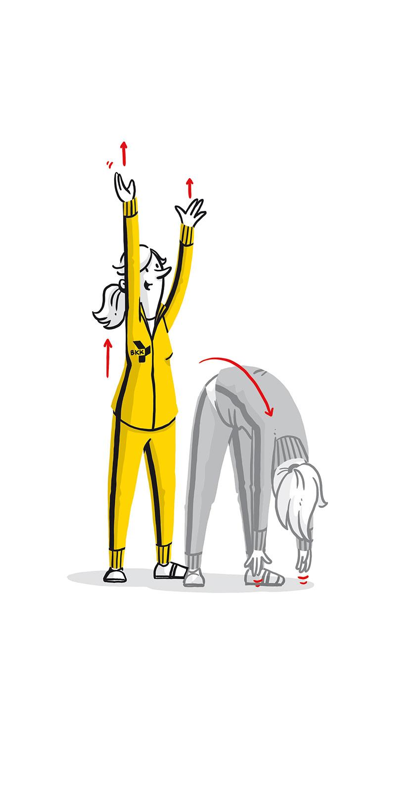 Illustriertes Maskottchen macht Dehnübungen