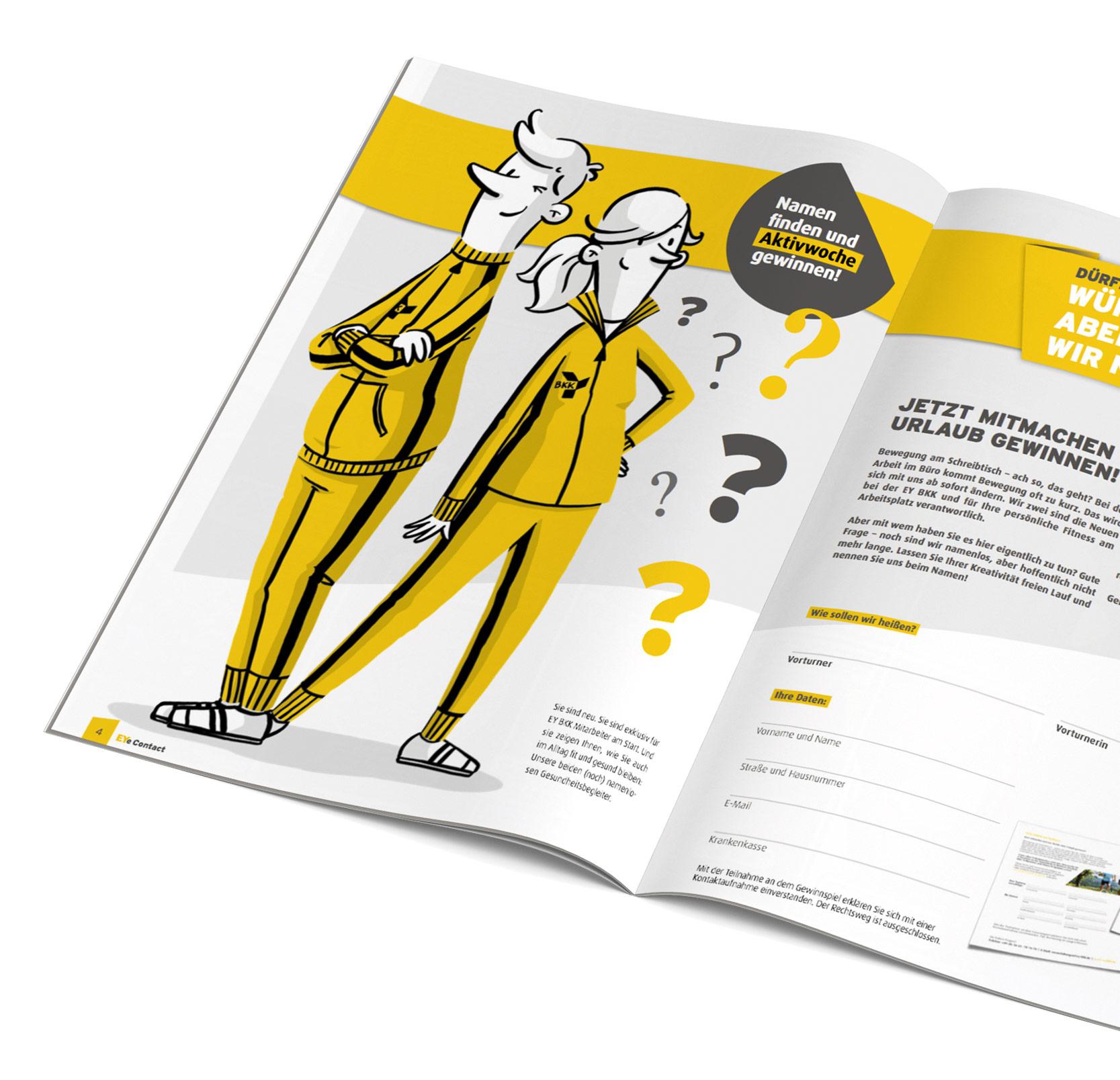 Printmagazin mit den abgedruckten Maskottchen
