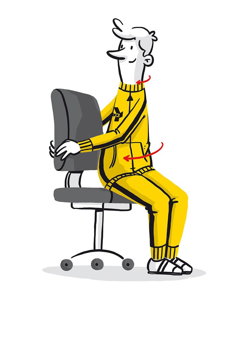 Illustriertes Maskottchen macht Dehnübungen auf dem Bürostuhl