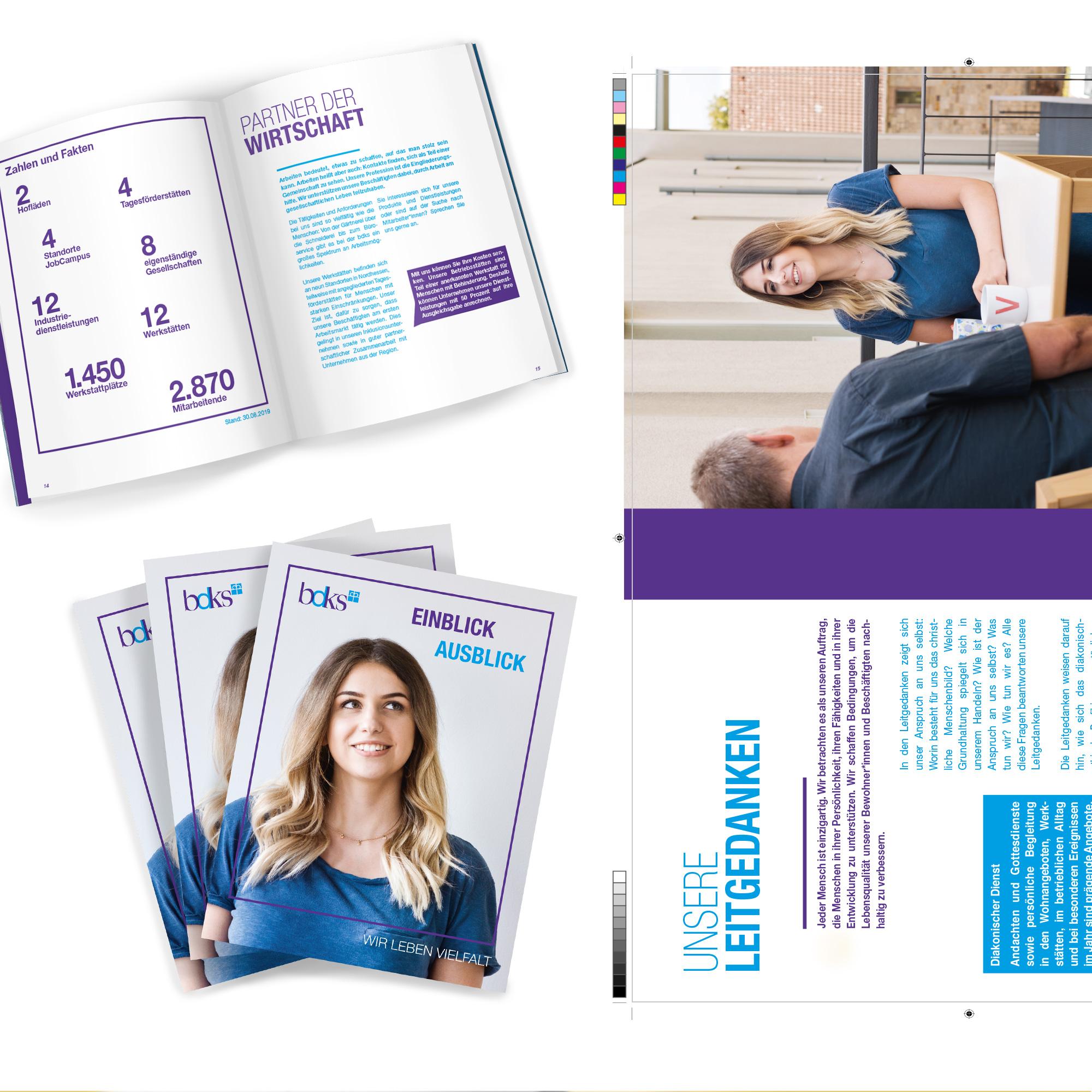 Verschiedene Innenseiten und das Titelmotiv der bdks-Imagebroschüre Werbeagentur formtugend