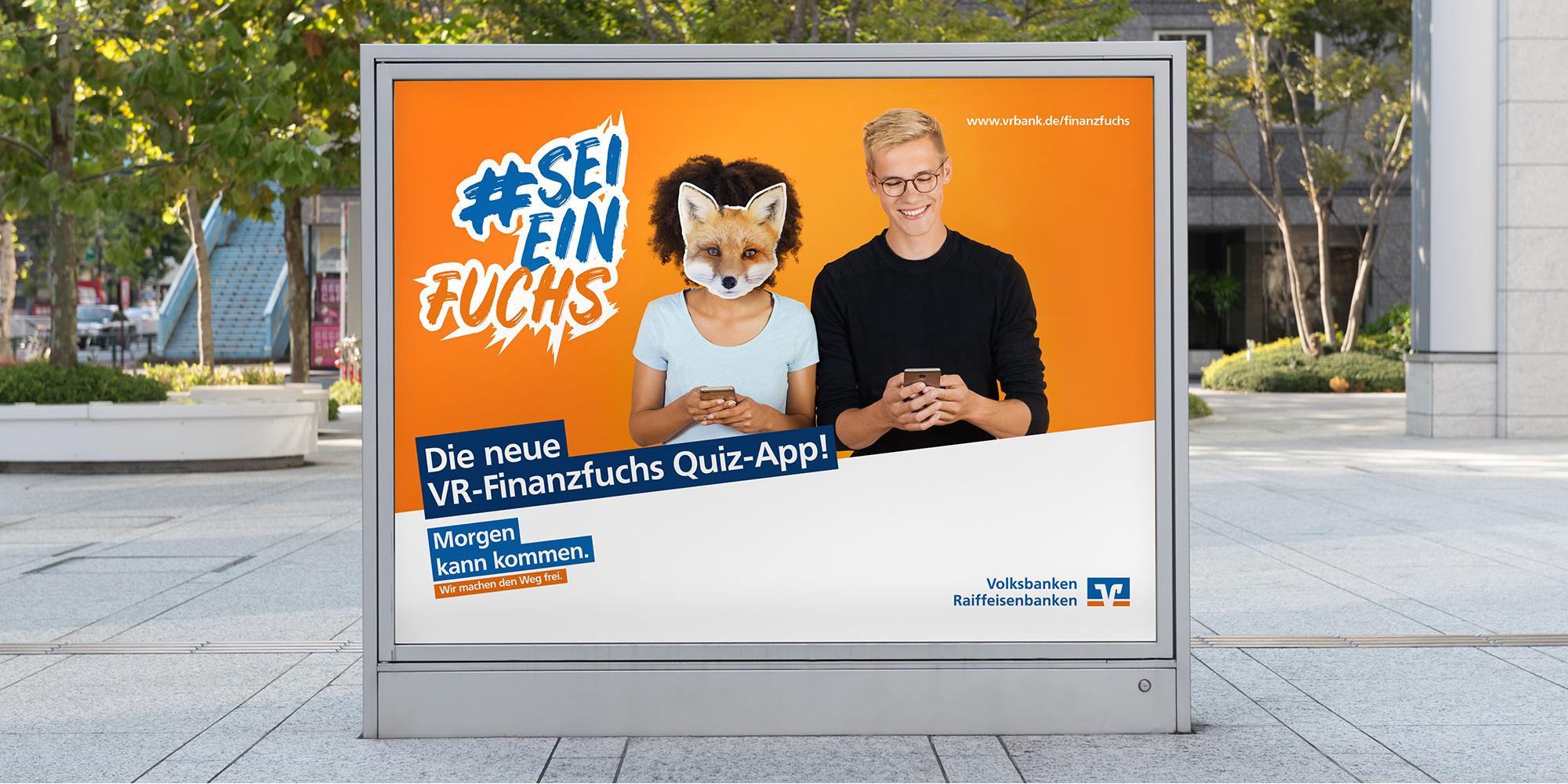 Großfläche zur VR-Finanzfuchs Quiz-App formtugend Kassel
