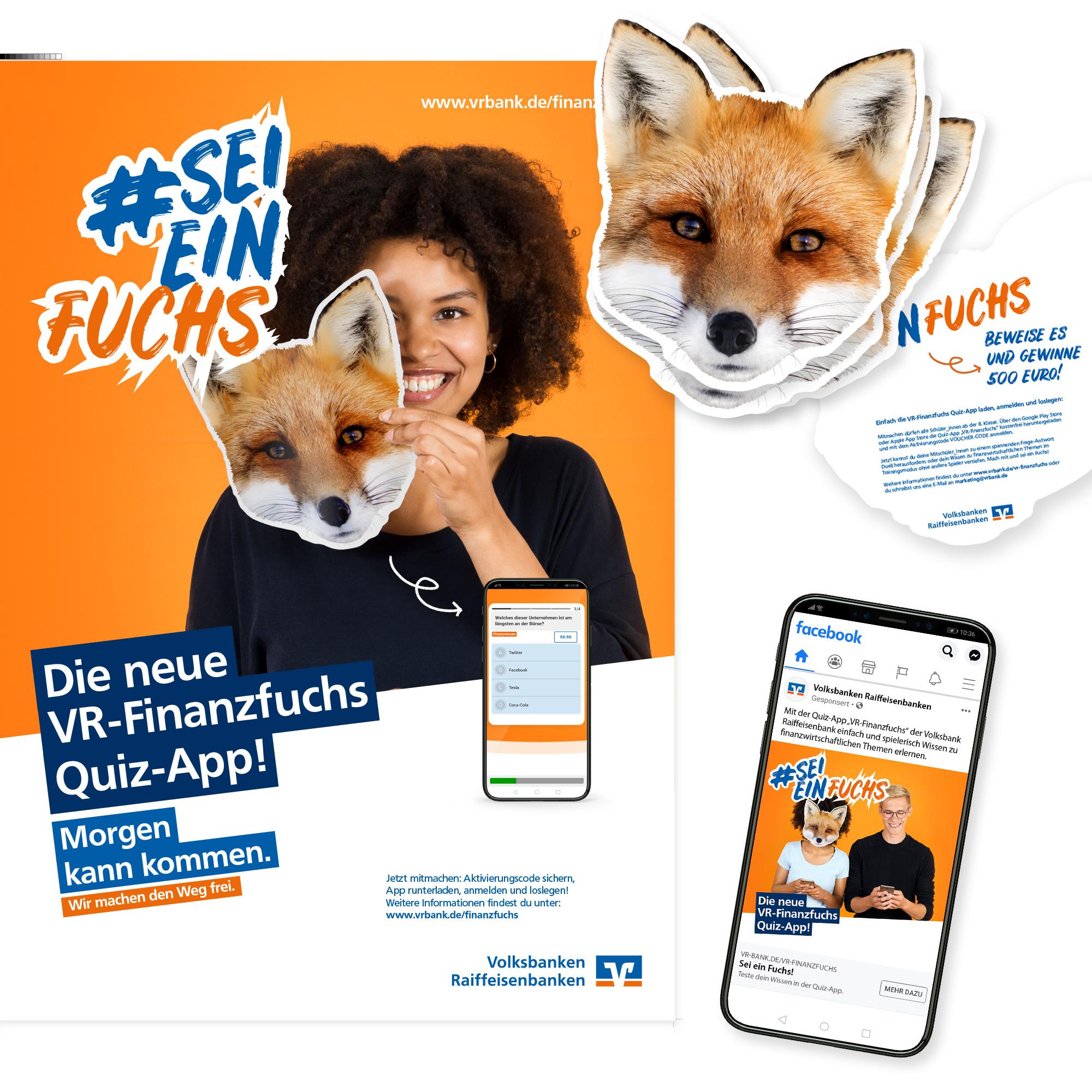 VR-Bank Kampagne zur VR-Finanzfuchs Quiz-App Print formtugend Kassel